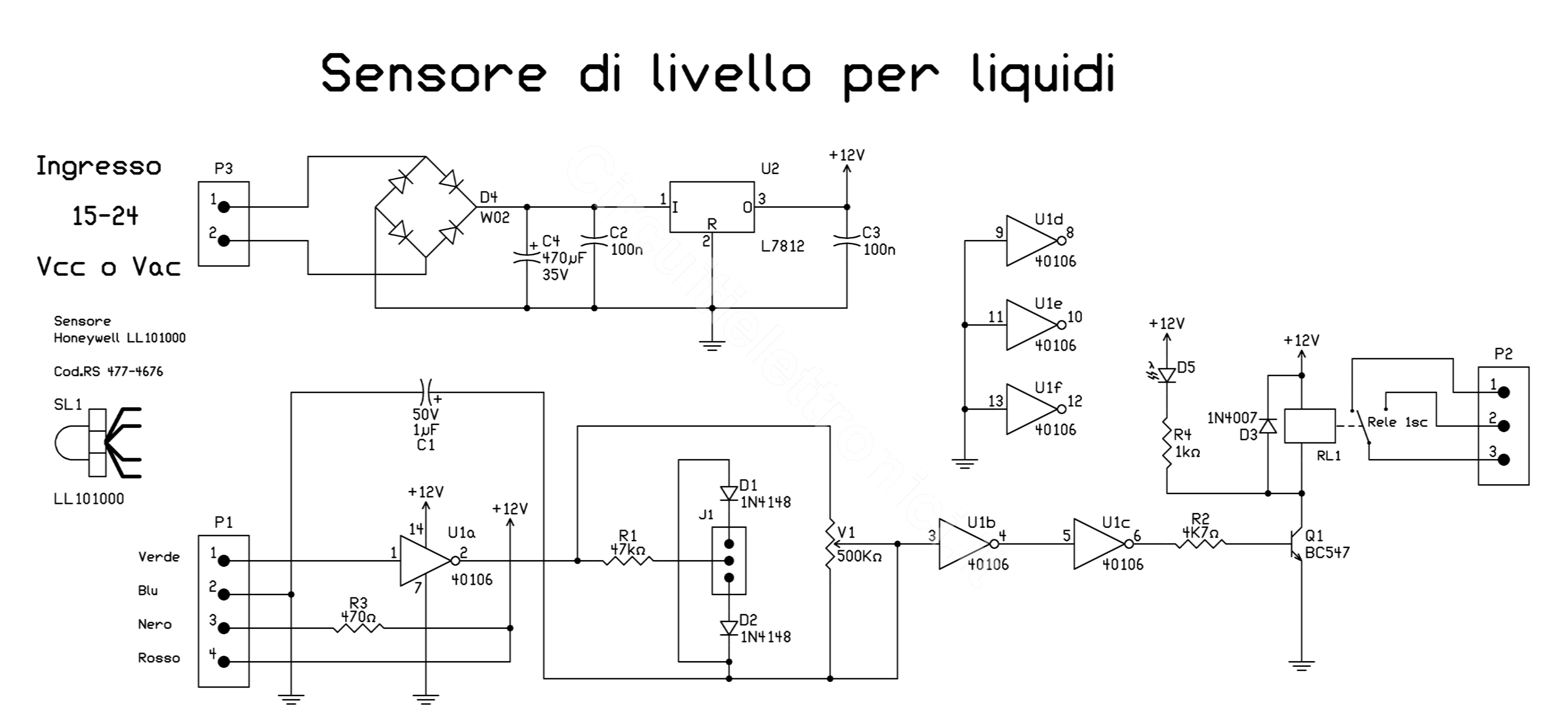 Schemi Elettrici Di Circuiti : Sensore livello liquidi circuitielettronici