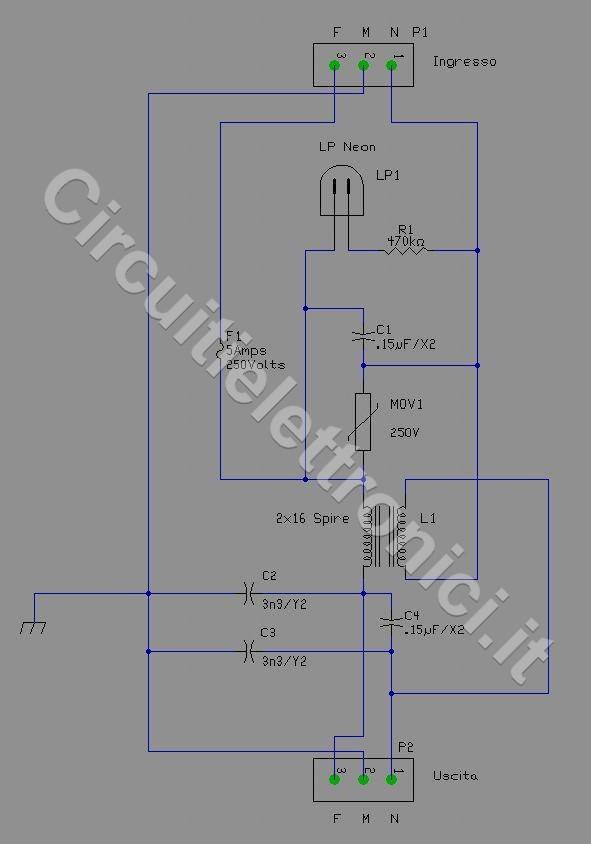 Schemi Elettrici Hi Fi : Filtro di rete antidisturbo circuitielettronici
