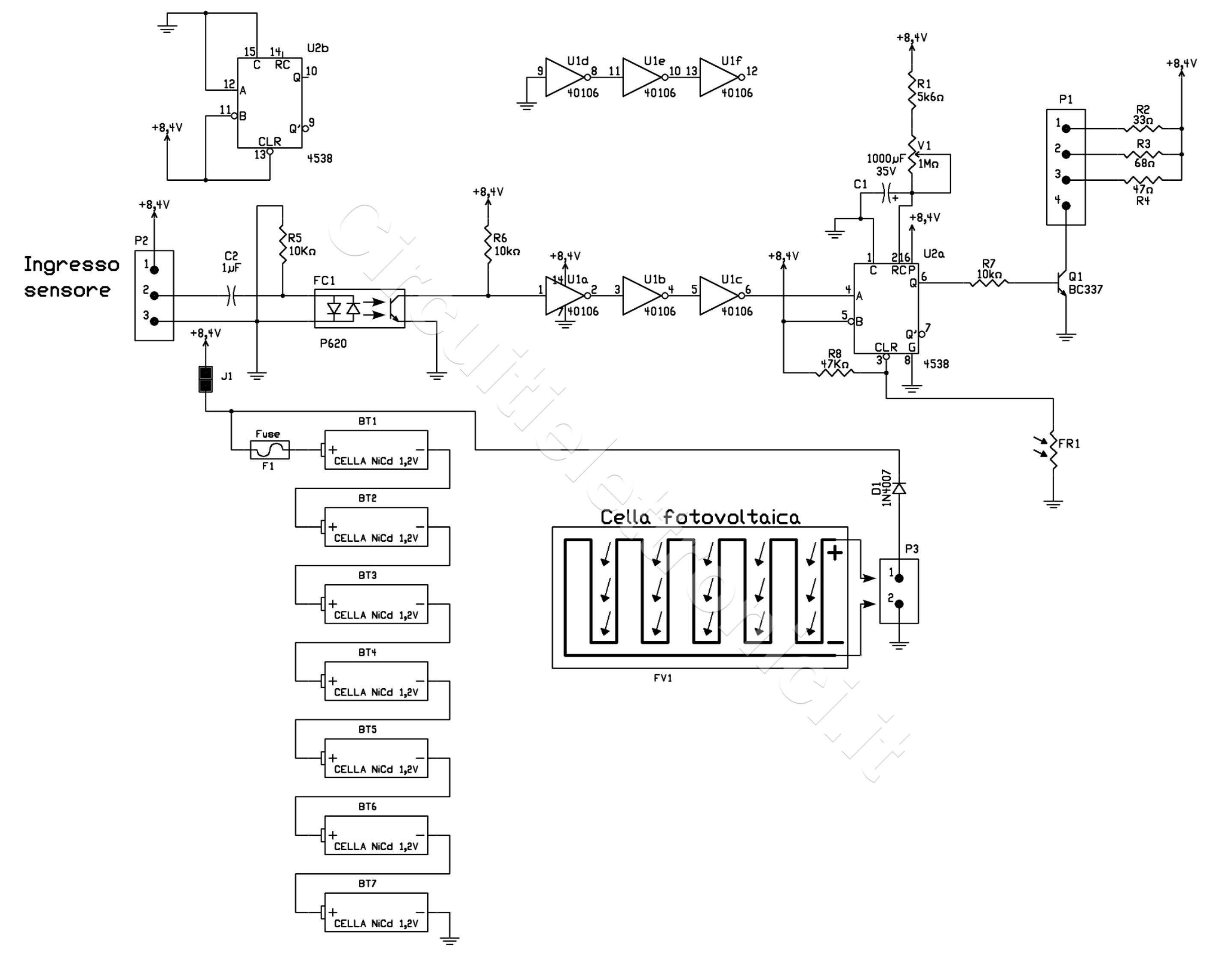 Schema Elettrico Lampada : Lampada per esterni alimentata ad energia solare circuitielettronici